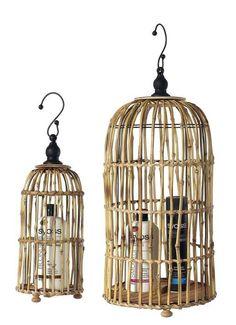 Deko-Vogelkäfige aus Bambus 70x29 & 50x16 cm