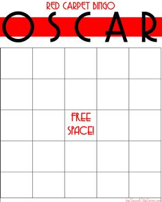 Oscars Red Carpet Bingo - Second City Soiree - Culture - Food - Style. Plus home entertaining and party planning