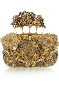 Alexander McQueen|Knuckle embroidered satin and tulle box clutch|NET-A-PORTER.COM