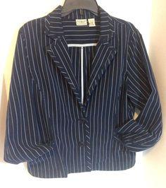 LL Bean Womens Size 14 Reg Navy Blue White Cotton Striped Jacket Blazer Nautical #LLBean #BasicJacket #Nautical