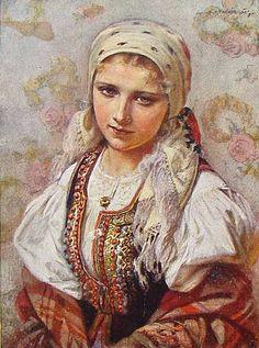Folk costume from Kraków, Poland; painting by Piotr Stachiewicz.