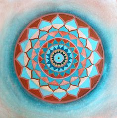 Turquoise and red . Mandala . Original by Arkofconsciousness