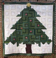 "Christmas Tree QUILT Wallhanging Throw - Winter Green Pine Star Light Star Bright Christmas Quilt - Geometric Design Patchwork - 70"" x 70"" by DavidsonStudio on Etsy"