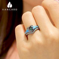 Mystic Topaz Blue Opal Black Engagement Ring For Women Blue Opal Ring, Opal Rings, Fashion Rings, Fashion Jewelry, Topaz Jewelry, Infinity Necklace, Mystic Topaz, Silver Color, Sterling Silver Rings