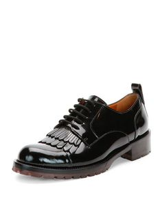 Fringe-Front Patent Lace-Up Oxford Shoe by Valentino at Bergdorf Goodman.