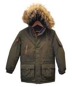 This Olive Spruce Faux Fur-Trim Hooded Parka - Boys is perfect! #zulilyfinds