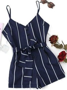 Striped Belted Cami Romper   BLACK PURPLISH BLUE SANDY BROWN WHITE Cute Rompers, Rompers Women, Jumpsuits For Women, Blue Jumpsuits, Evening Jumpsuits, Outfits For Teens, Summer Outfits, Cute Outfits, Clueless Outfits