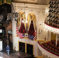 Ford's theatre The president's box at Ford's theatre, photographed at the time of Abraham Lincoln's assassination in April 1865 by the actor John Wilkes Booth – five days after General Robert Lee's surrender to General Grant at Appomattox. The theatre remained closed for over 100 years until it reopened in 1968 as a national historic site and working theatre. Archive photograph by Abraham Lincoln Presidential Library