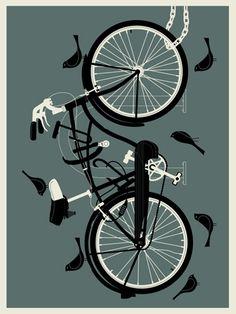 Boy And Bird, Bike Drawing, Bike Poster, Bike Chain, Bicycle Art, Aprons, Studios, Sculptures, Bedrooms