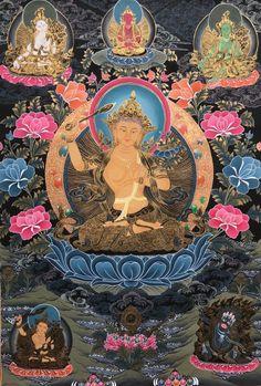 Genuine, Hand Painted, Tibetan, Manjusri Bodhisattva, Thangka, Thanka In Gold Buddhist Wheel Of Life, Reiki, Tibet Art, Thangka Painting, Tibetan Buddhism, Buddha Art, Mandala Drawing, Sacred Art, Religious Art