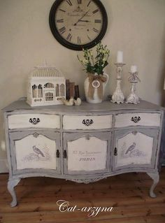 Love what has been done to this buffet!  via Facebook/La chic home boutique