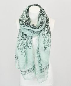 Mint & Black Baroque Scarf by Leto Collection #zulily #zulilyfinds
