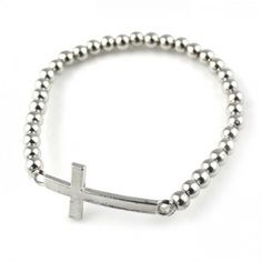 Sideways cross armband zilver