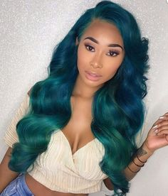 Ombre Green Body Wave Glueless Lace Front Wigs With Baby Hair Full Lace Wigs Hair Color For Women, Wigs For Black Women, Cool Hair Color, My Hairstyle, Wig Hairstyles, Black Hairstyles, Straight Hairstyles, Colored Weave Hairstyles, Gorgeous Hairstyles