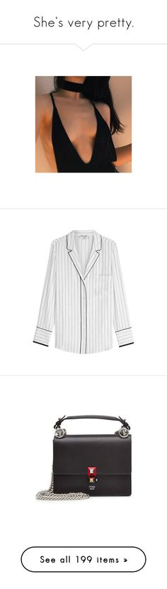 """""""She's very pretty."""" by lucieednie ❤ liked on Polyvore featuring tops, blouses, striped top, white silk top, white blouse, stripe blouse, stripe top, bags, handbags and shoulder bags"""