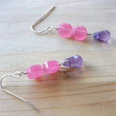 "Two Pink Quartz Round Flats with Faceted Edges Hang From Sterling Silver French Hooks While Faceted Amethyst Briolettes Dangle Below. Really, a FUN Pair of Earrings to Spice up Everyday Jeans and Your Favorite Tee!! Don't Forget, All of my Earrings Come With Rubber Earring Backs Too!    Dangle Length is 1.25"".                                                  $28.00"