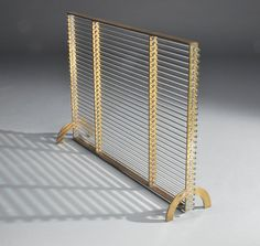 Brass and Glass Modernist Fire Screen Attributed to Boris Lacroix, circa 1930 image 5