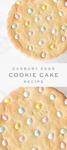A beautiful and delicious Cadbury Eggs Cookie Cake recipe for an easy Easter dessert that looks as good as it tastes! An easy Easter dessert everyone loves! Cadbury Cookies, No Egg Cookies, Easter Cookies, Cookies Et Biscuits, Cadbury Eggs, Summer Cookies, Baby Cookies, Heart Cookies, Valentine Cookies