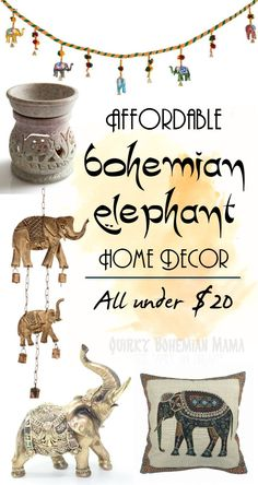 Affordable Bohemian Elephant Home Decor {Boho bohemian hippie home decor under$20}