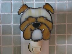 Stained Glass Bull Dog Night Light