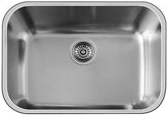 """This single bowl undermount sink features an 8 inch bowl depth and is made of 20 gauge stainless steel. Rear-positioned drain hole offers maximum usable bowl and cabinet storage space, and the large bowl accommodates bulky items. 3-1/2"""" stainless steel strainer and undermount clips are included. Available in store by Special Order Only. See associate for details."""
