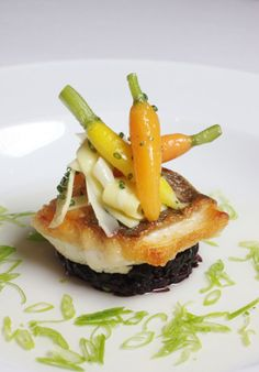 The French Laundry, lemon grilled halibut fish with roasted baby carrots