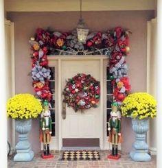 Mackenzie Childs wreath and garland on a customer's door!