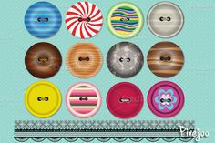 Clipart Buttons and Trim Pattern by Pixejoo on @creativemarket
