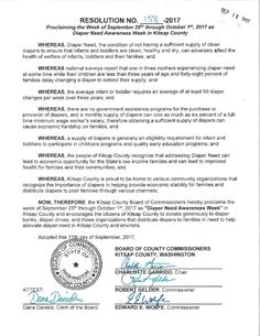 KITSAP COUNTY, WA – County Commission proclamation recognizing Diaper Need Awareness Week (Sept 25-Oct 1) #DiaperNeed Diaperneed.org