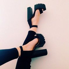 Black chunky heeled sandals