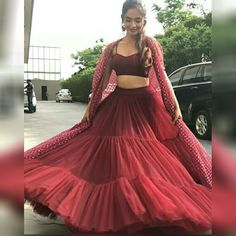 Anushka Sen Maroon Multi Layer Ruffle Net Party Wear Indo-Western Lehenga Choli With Shrug Indian Gowns Dresses, Indian Fashion Dresses, Dress Indian Style, Indian Designer Outfits, Fashion Outfits, Indian Lehenga, Lehenga Choli, Net Lehenga, Western Lehenga