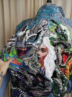 Denim jacket hand embroidery