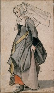 I have always loved this Holbein sketch of a middle-class Tudor Era woman. Note the shoes.