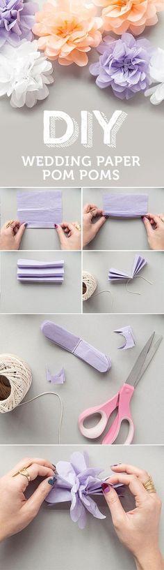 Diy paper flowers - diy wedding paper pom poms - how to make a paper flow. Tissue Paper Flowers, Diy Flowers, Tissue Poms, Wedding Flowers, Flower Paper, Flowers Decoration, Paper Poms, Flower Diy, Pom Pom Flowers