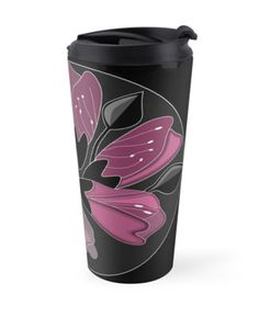 Art fot travelers. Fancy Art nouveau dusty pink floral travel mug. High quality product designed by independent artist. Perfect gift for her.#ArtForTravelers