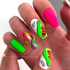 Bright Pink and Green Matte Coffin Nails ❤ 35+ Magnificent Coffin Nails Designs You Must Try ❤ See more ideas on our blog!! #naildesignsjournal #nails #nailart #naildesigns #nailshapes #coffins #coffinnails #coffinnailshapes