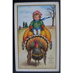 Thanksgiving Postcard Little Girl Riding a JOL Turkey ($17) ❤ liked on Polyvore featuring home, home decor, turkish home decor, thanksgiving home decor and post card