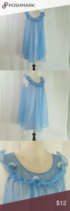 Vintage Blue Double Chiffon Nightgown by Lisette M Good Used Condition.  Double Chiffon Babydoll Nightie.  It has a tear near the hem that blends in with all the fabrics.  Price adjusted for flaw. See last photo.  Label Lisette.  Size M Bust 40 Length 35 ModCloth Intimates & Sleepwear Chemises & Slips