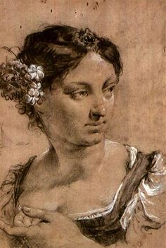 Giovanni Battista Piazzetta (Italian, 1682–1754) - STUDY OF A GIRL WITH FLOWERS IN HER HAIR. Chalk, 38.8 x 26.8 cm. (15.3 x 10.6 in.)
