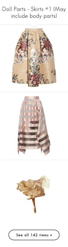 """Doll Parts - Skirts #1 (May include body parts)"" by mimi1207 ❤ liked on Polyvore featuring skirts, fendi, cream, metallic skirts, beige skirt, colorful midi skirts, floral midi skirt, zipper skirt, pastel pink and stripe skirt"