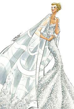 Fantasy wedding dress for Jennifer Aniston by Reem Acra Wedding Dress Illustrations, Wedding Dress Sketches, Fashion Illustrations, Jennifer Aniston Wedding Dress, Reem Acra Wedding Dress, Illustration Mode, Designer Wedding Gowns, Fashion Art, Fashion Design