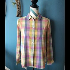 Shop jiylowrie's closet or find the perfect look from millions of stylists. Fast shipping and buyer protection. Madewell pastel buffalo check long sleeve button down blouse in excellent condition looks great with cut off shorts do you know if shorts or khaki pants.