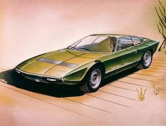 #Maserati Khamsin design sketch by Giorgetto Giugiaro at #Bertone (1972)