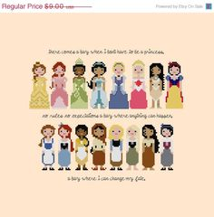 CHRISTMAS in JULY SALE Disney Princess Pixel People Cross Stitch Pattern - Girls Cross Stitch - Easy Cross Stitch Pdf