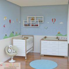 Adesivo de parede para decoração de quarto de bebê e infantil | Avião, nuvens, carros, carrinhos, balões, montanhas, helicóptero, ônibus, sol, aviãozinho | SP,BH, MG, RJ, DF