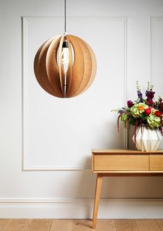 Gorgeous wooden globe light fitting - superb for a Scandi or natural look ♥ byHomely.com ♥