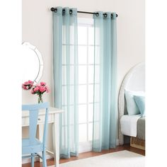 Curtains Hint Of Turquoise Sheer Sunny Drapes Draperies Clean Shoe Decor Beach Retreat Calm Cottage Blue
