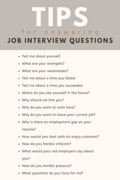 That's why it's important to have an idea of the most common job interview questions and how best to answer each one. That way, you can go into each job interview already knowing how to answer any question they through your way. Interview Tips For Nurses, Common Job Interview Questions, Job Interview Preparation, Interview Questions And Answers, Job Interview Tips, Job Interviews, How To Interview, Job Resume, Resume Ideas
