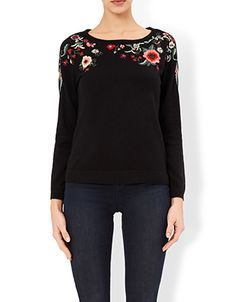 Beth Floral Embroidered Jumper | Black | Monsoon