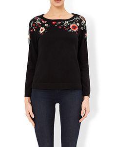 Beth Floral Embroidered Jumper | Black | Monsoon